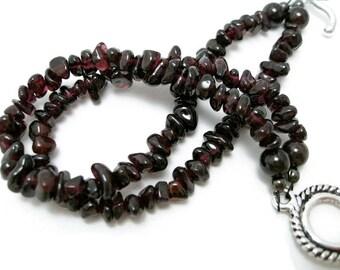 Garnet Bracelet  handmade jewelry  gemstone chip bracelet  womens bracelets  garnet birthstone  January gift for her Birthday Christmas gift