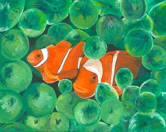 Clownfish 11x14 Oil Painting