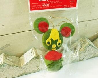 Vintage Sears Christmas Baby Animal Ornament Green Mouse