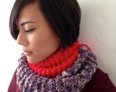KNIT COWL INFINITY Purple Contrasted with Vibrant Red Hand Knitted Cowl, Purple and Red Infinity Scarf, Colorblocked Cowl