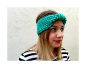 KNIT TURBAN HEADBAND - Hand knitted turban headband in Spearmint Green, knitted earwarmer in spearmint green