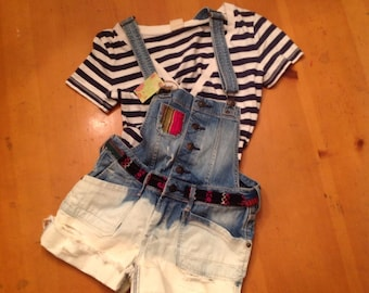 Girls  hippie denim overall shorts  ombre bleached hipster size 14