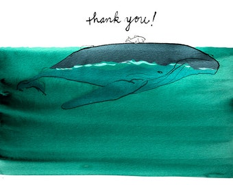 Whale Thank You Cards, boxed set of 10