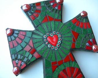 Celtic Christmas Heart Mosaic Cross