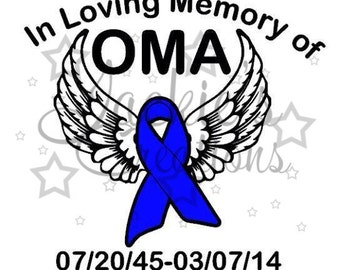 In Loving Memory of Decal with Awareness Ribbon and Wings