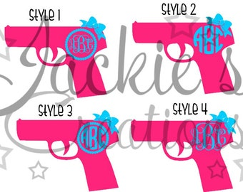 Pistol/Gun Monogram Decal
