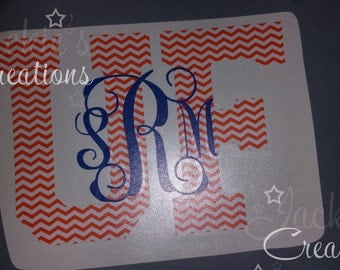 UF Florida Monogram Decal in Chevron Print with Script or Circle Monogram
