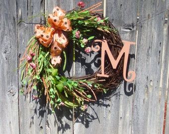 Peach Orange, Pink Roses, Green Leaves Initial Grapevine Spring Summer Wreath