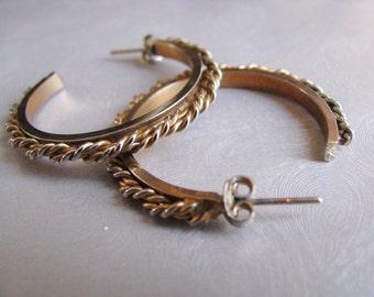 Stud Hoop Earrings - Antique Gold Post Earrings