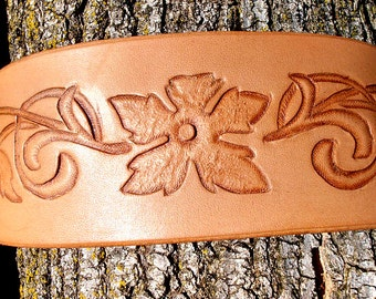 Floral Cuff Tooled Leather Cuff