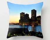 Pillow cover with photo of Manhattan skyline in sunset.