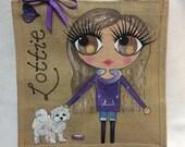 Handpainted Personalised Teenage Girl Jute Ballet Bridesmaid Handbag Gift Party Bag Celebrity Style