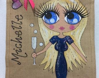 Handpainted Personalised Birthday Celebration Bag 18th 21st 30th 40th Jute Handbag Gift Present Celebrity Style Bag