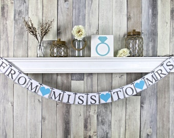 From Miss to Mrs Banner, Bridal Shower Banner, From Miss to Mrs Sign, Bridal Shower Decor, Blue Decorations