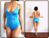 80's Cheeky Cheryl Tiegs Open Back Neon Blue Floral One Piece Swimsuit