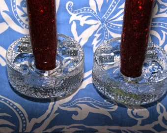 Two lovely glass candle holders...Sweden