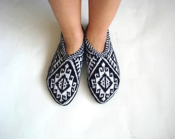 knitted slippers, womens slippers, black and white geometric Slippers, Turkish Socks, knit socks, home shoes, mothers day womans gifts