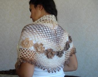 Caramel Brown Cream Triangle shawl warm, Stole, Bolero, wedding bridal bridesmaid shawl scarf, flowered womens scarf, knitted shawl