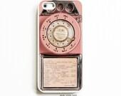 Rubber iPhone 5 Case. iPhone 5S Case. Vintage Pink Payphone. iPhone 5 Cases. iPhone 5S Cases. Phone Case. iPhone Case.