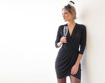 Black mini wrap gown, Sexy black dress, Mini dress with long sleeves 1035