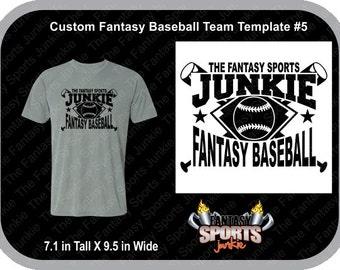 Custom Personalized Fantasy Baseball Team T-shirt (#5) for Fantasy Baseball Legends, great gift for Commish & Fantasy Sports lovers.