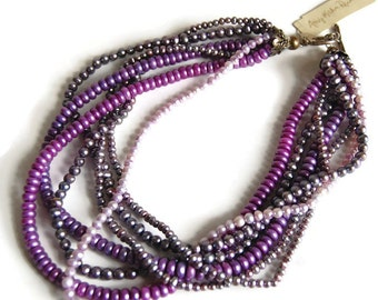 Amy Kahn Russell Freshwater Pearl Multistrand Necklace Vintage Modernist Traditional Jewelry Accessories Boho Purple Jewelry Gift for Her