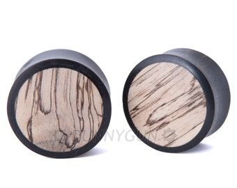"5/8"" Pair Black Dogwood with Tamarind Wood Inlay Plugs - Organic Body Piercing Jewelry Gauged Earrings"
