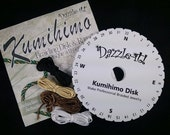 Kumihimo Braiding Disc - KIT with starter rattail cord, instructions and Kumi Disk