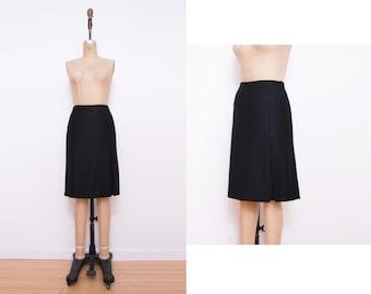 Vintage black cashmere skirt | Loro Piana pleated high slit skirt