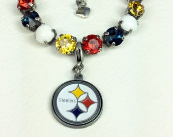 Swarovski Crystal 8.5mm Bracelet   Pittsburgh STEELERS Fan Bracelet!  Casual Elegance! -  Designer Inspired - FREE SHIPPING