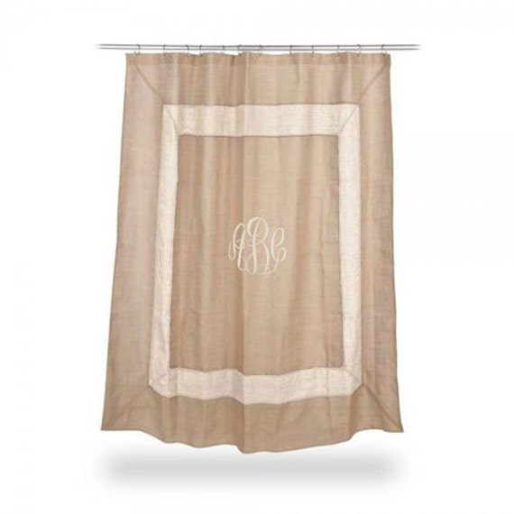 monogrammed burlap shower curtain ivory boarder font shown master