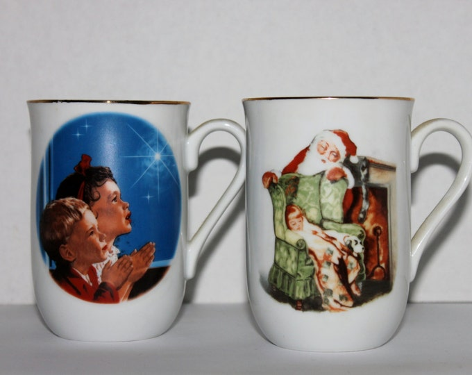Vintage Norman Rockwell Inspired Christmas Collector Cups