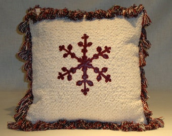 Italian Red Leather Snowflake Pillow on Winter White Chenille w/Tassels & Forest Green Velvet Back 12 x 12 w/Down Fill (Made to Order)