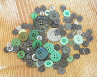 Buttons assorted in Greens approx 100