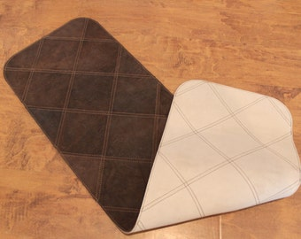 """Handcrafted in USA: Distressed Brown Leather Patchwork Table Runner - Large 45.5"""" X 13.25"""""""