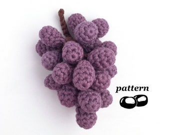 Crochet Grapes Pattern / Bunch of Grapes / Crochet Fruit Pattern / Crochet Food Pattern