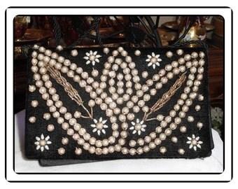 Vintage Clutch Purse - Black Heavily Beaded Faux Pearl Fold Over Clutch Purse - PR-050b-081614015