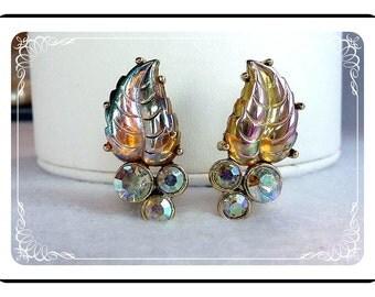 Leaf Rhinestone Earrings - Vintage Iridescent   E261a-04081200