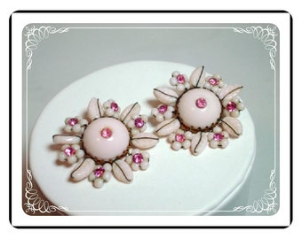 Pink Flower Earrings - Vintage Rhinestone Studded Flowers E426a-042712000