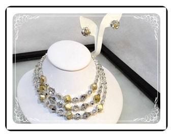 Crystal Glass Demi - Multi Strand Bead Necklace & Earrings Set -   Demi-1826a-121812000