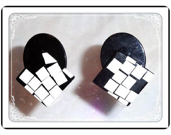 Abstract B & W Earrings - Checker Board Plastic Clip-ons  - Pop Art    E1409a-090913000