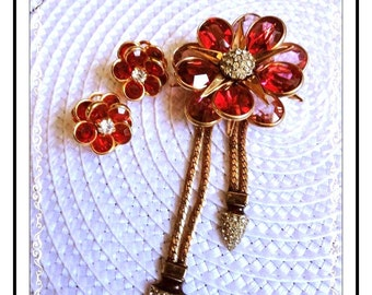 Vintage Flower Brooch -  Signed CRC 1/20th 12Kt Gold Filled Pink Rose Pin plus- 1457a-042613000