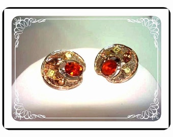 Coro Rhinestone Earrings - Button  Clip on Autumn Gold -   E182a-04081200