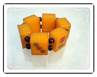 Bakelite Mahjong Bracelet  - Vintage Bakelite Blocks - Stretch Bracelet - Yellow Red & Black - Brac-1323a-022313000