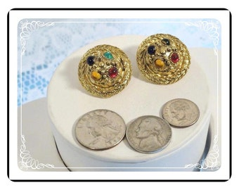 Domed Jewel-Tone Earrings - Vintage Chunky Goldtone Clip On Earrings -  E2126a-08051200