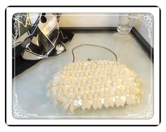 Beaded Evening Bag - Vintage  Pearlescent Beads & Sequins and Teardrops - Winestock  -  PR-016a-072313000