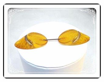 Bakelite Jabot Pin - Deeply Carved Vintage Apple Cider Hat Pin / Brooch - Pin-1922a-121812000