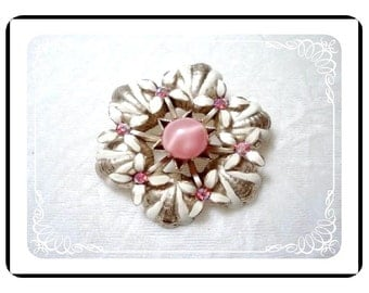 Mod Enamel Vintage Brooch - Dreamy Princess Pink Stones with White  Pin-1043a-040111000