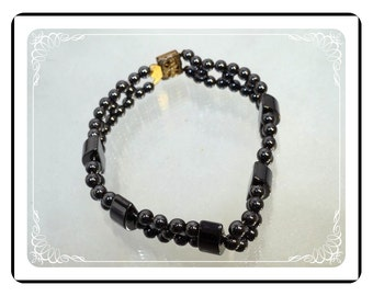 Vintage Hematite Bracelet - Abstract Beads in Black   -   2043a-122512000