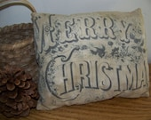 Primitive Vintage Logo Merry Christmas Pillow